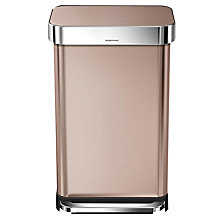 Buy simplehuman Liner Pocket Pedal Bin, Rose Gold, 45L Online at johnlewis.com