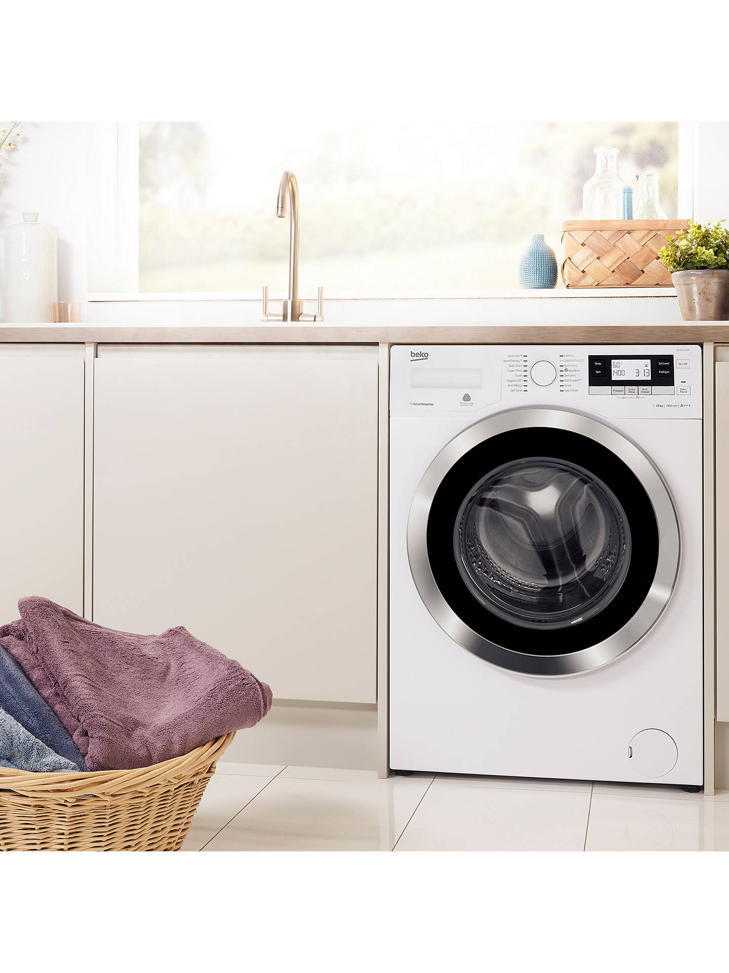 Buy Beko WY104764MW Freestanding Washing Machine, 10kg Load, A+++ Energy Rating, 1400rpm Spin, White Online at johnlewis.com