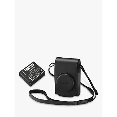 Panasonic TZ100 Leather Camera Case & Battery Kit, Black