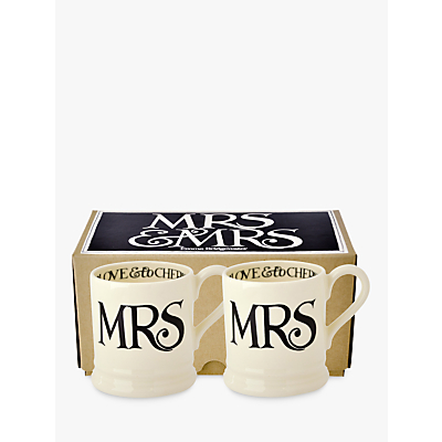 Emma Bridgewater Black Toast Mrs & Mrs Mug, Set of 2, Black/White, 300ml