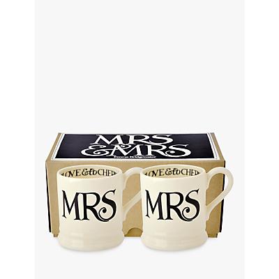 Emma Bridgewater Black Toast Mrs & Mrs Mug, Set of 2, Black / White