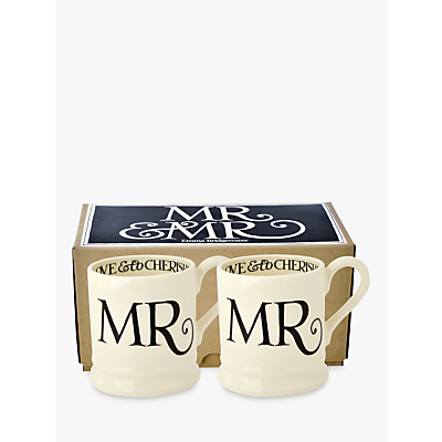 Emma Bridgewater Black Toast Mr & Mr Mugs, Set of 2, Black/White, 300ml