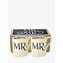 Buy Emma Bridgewater Black Toast Mr & Mr Mugs, Set of 2, Black/White, 300ml Online at johnlewis.com
