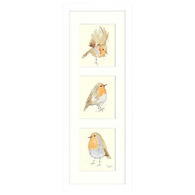 Mimi Emmett – Robin Triptych Framed Print, 23 x 63cm