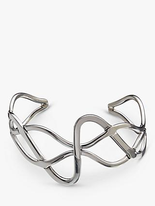 Andea Sterling Silver Wide Plait Cuff, Silver