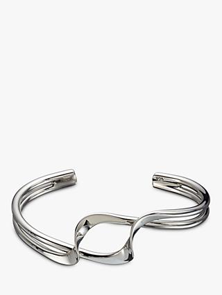 Andea Sterling Silver Double Twist Half Bangle, Silver