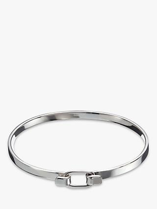Andea Sterling Silver Square Edge Belt Bangle, Silver