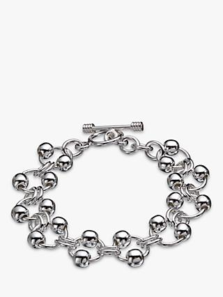 Andea Sterling Silver Balls On Rings Bracelet, Silver