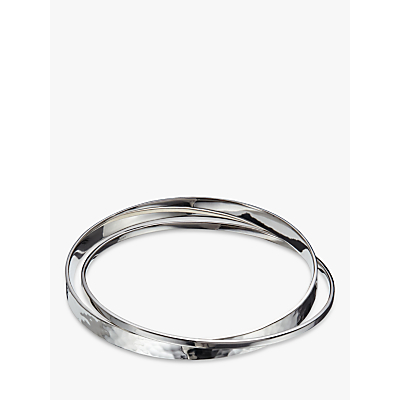 Andea Sterling Silver Polished and Hammered Double Bangle, Silver