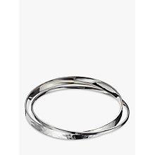 Buy Andea Sterling Silver Polished and Hammered Double Bangle, Silver Online at johnlewis.com