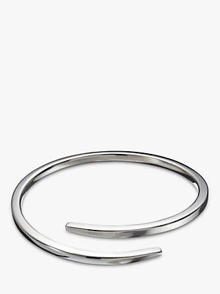 Andea Sterling Silver Square Edge Overlap Bangle, Silver