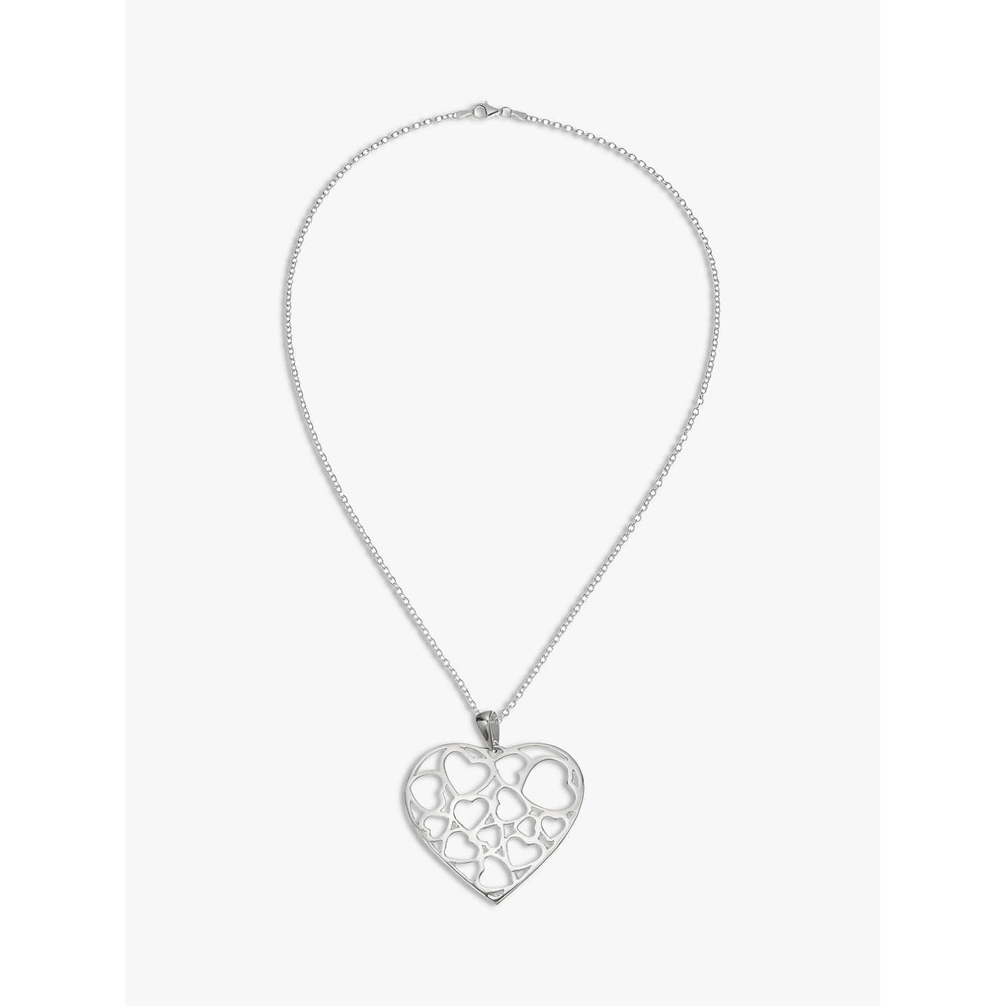Andea large cut out heart pendant necklace silver at john lewis buyandea large cut out heart pendant necklace silver online at johnlewis mozeypictures Gallery