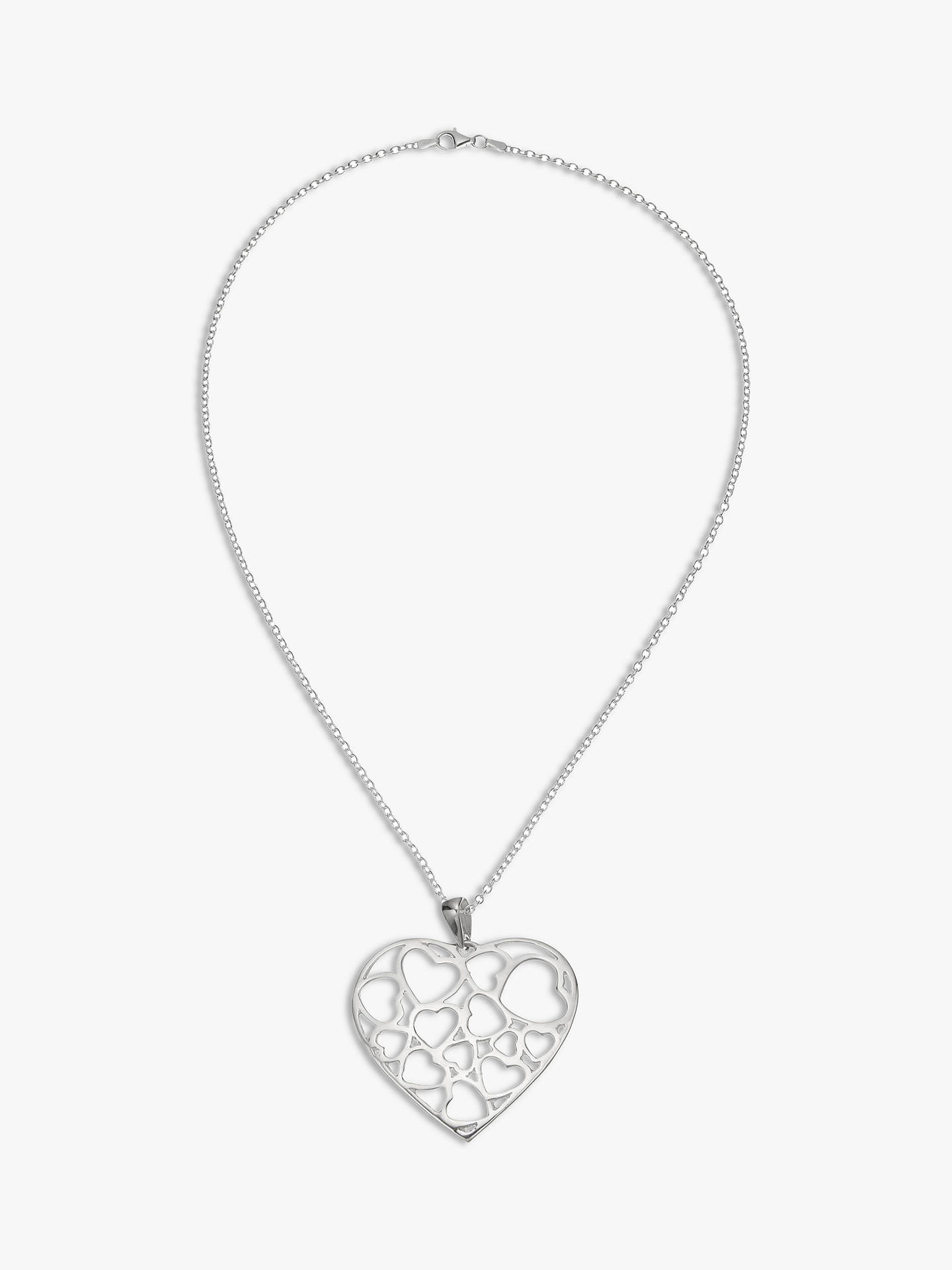 726612be3ed2e8 Andea Large Cut Out Heart Pendant Necklace Silver At John Lewis