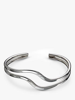 Andea Sterling Silver Double Wave Half Bangle, Silver