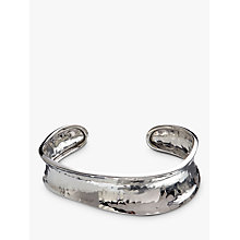 Buy Andea Sterling Silver Hammered Concave Cuff, Silver Online at johnlewis.com