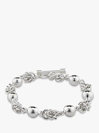 Andea Sterling Silver Ball and Knot Bracelet, Silver