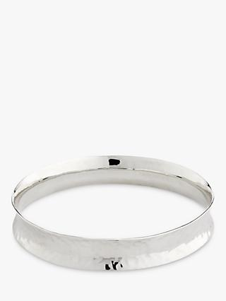 Andea Sterling Silver Hammered Concave Bangle, Silver