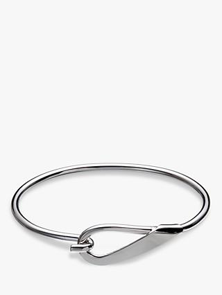 Andea Sterling Silver Hook Open Bangle, Silver
