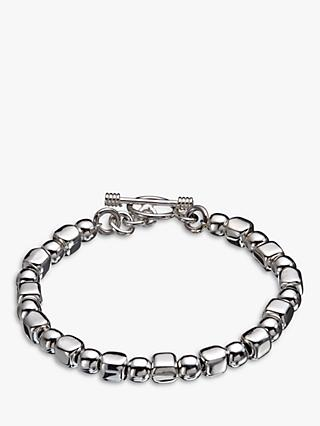 Andea Sterling Silver Ball and Cube Bracelet, Silver