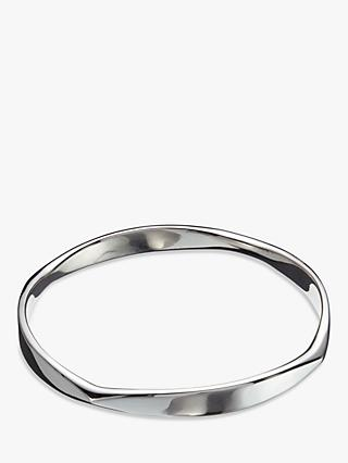 Andea Sterling Silver Polished Curve Bangle, Silver