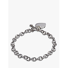 Buy Andea Sterling Silver Oval Link Heart Charm Bracelet, Silver Online at johnlewis.com