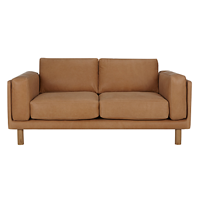 Design Project by John Lewis No.002 Medium 2 Seater Leather Sofa, Selvaggio Parchment