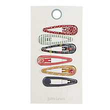 Buy John Lewis Multi Pattern Mini Click Clack Hair Clips, Pack of 6, Multi Online at johnlewis.com