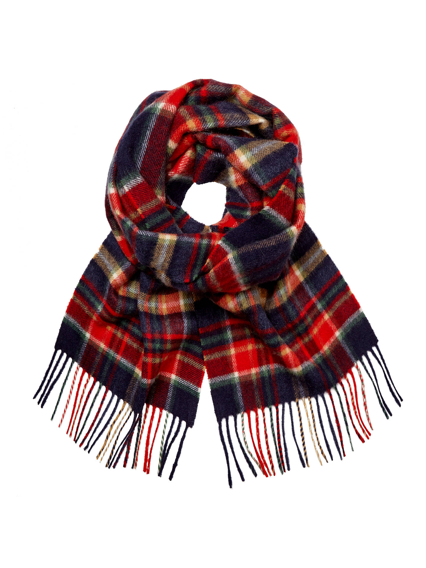 Cashmere Multi Check Scarf Red Blue