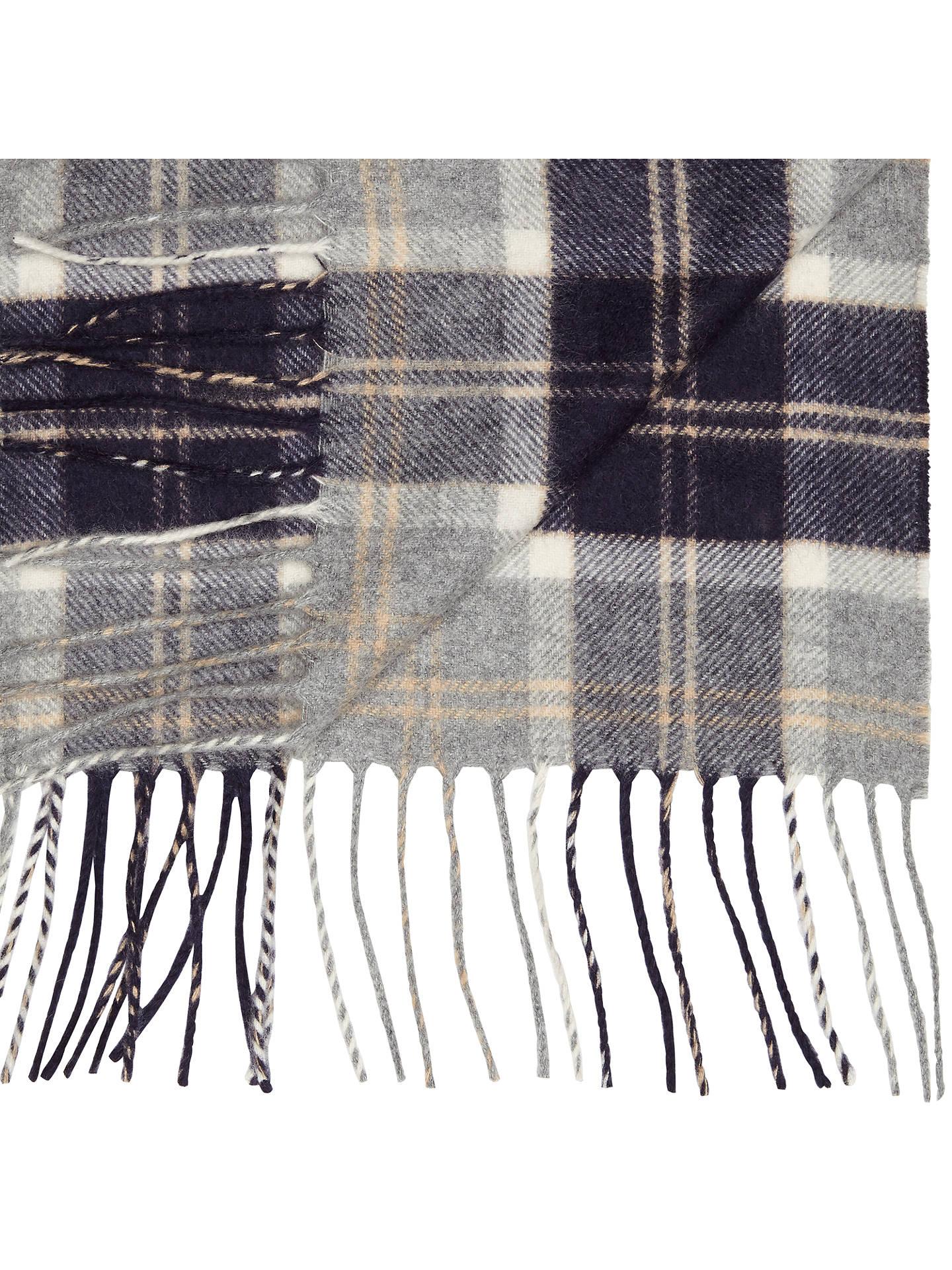 Johnstons Of Elgin Cashmere Check Scarf Grey At John Lewis