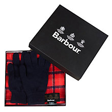 Buy Barbour Lambswool Scarf and Gloves Gift Set, One Size Online at johnlewis.com