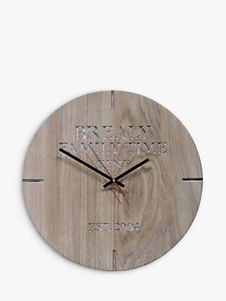The Oak And Rope Company Personalised Oak Clock, Dia.38cm