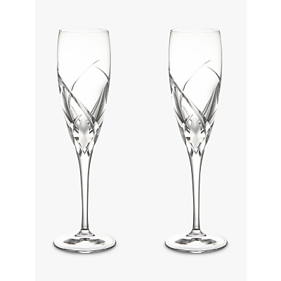Image of John Lewis & Partners Grosseto Cut Crystal Glass Flute, Set of 2, Clear