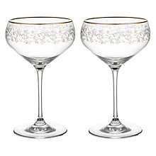 Buy John Lewis Croft Collection Swan Trailing Rose Champagne Saucer, Set of 2, Clear/Gold, 380ml Online at johnlewis.com
