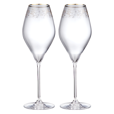 John Lewis Croft Collection Swan Trailing Rose Wine Glass. Set of 2, Clear/Gold, 430ml