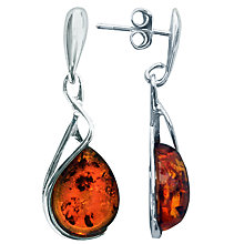 Buy Goldmajor Sterling Silver and Amber Tear Drop Earrings, Silver/Amber Online at johnlewis.com