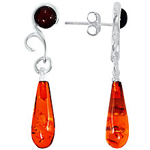 Buy Goldmajor Sterling Silver Amber Bomb Drop Earrings, Silver/Amber Online at johnlewis.com
