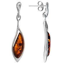 Buy Goldmajor Sterling Silver Amber Drop Earrings, Brown Online at johnlewis.com