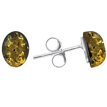 Buy Goldmajor Green Amber and Sterling Silver Stud Earrings, Silver/Amber Online at johnlewis.com