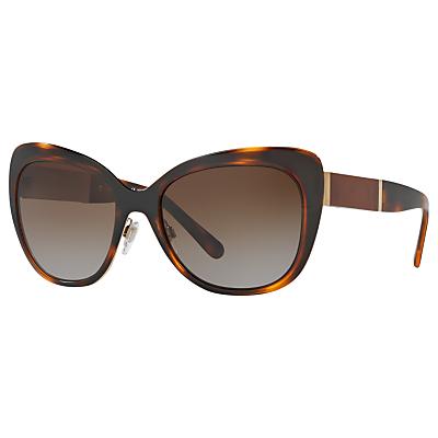 Burberry BE3088 Polarised Cat's Eye Sunglasses, Tortoise/Brown Gradient