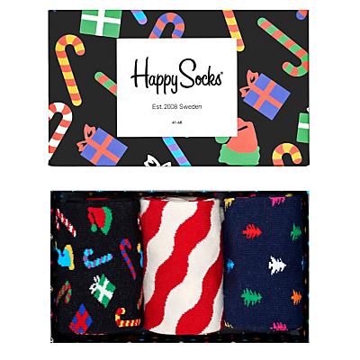 Happy Socks Christmas Socks, One Size, Pack of 3, Multi