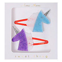 Buy Meri Meri Unicorn Hair Clips, Pack of 2, Blue/Purple Online at johnlewis.com