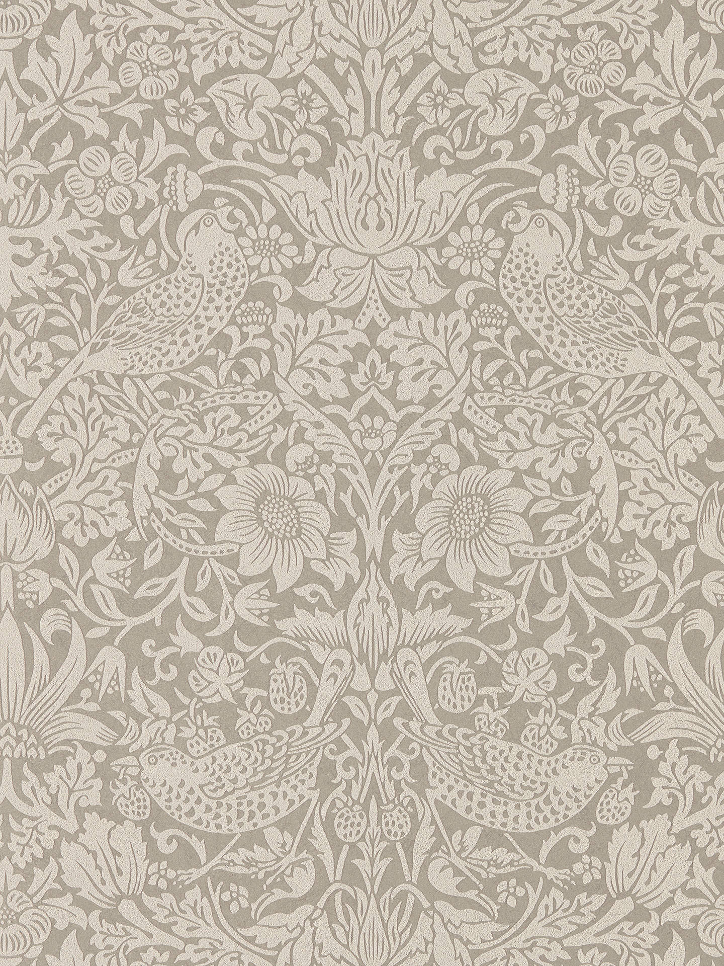 Buy Morris & Co. Pure Strawberry Thief Wallpaper, Silver / Stone DMPU216017 Online at johnlewis.com