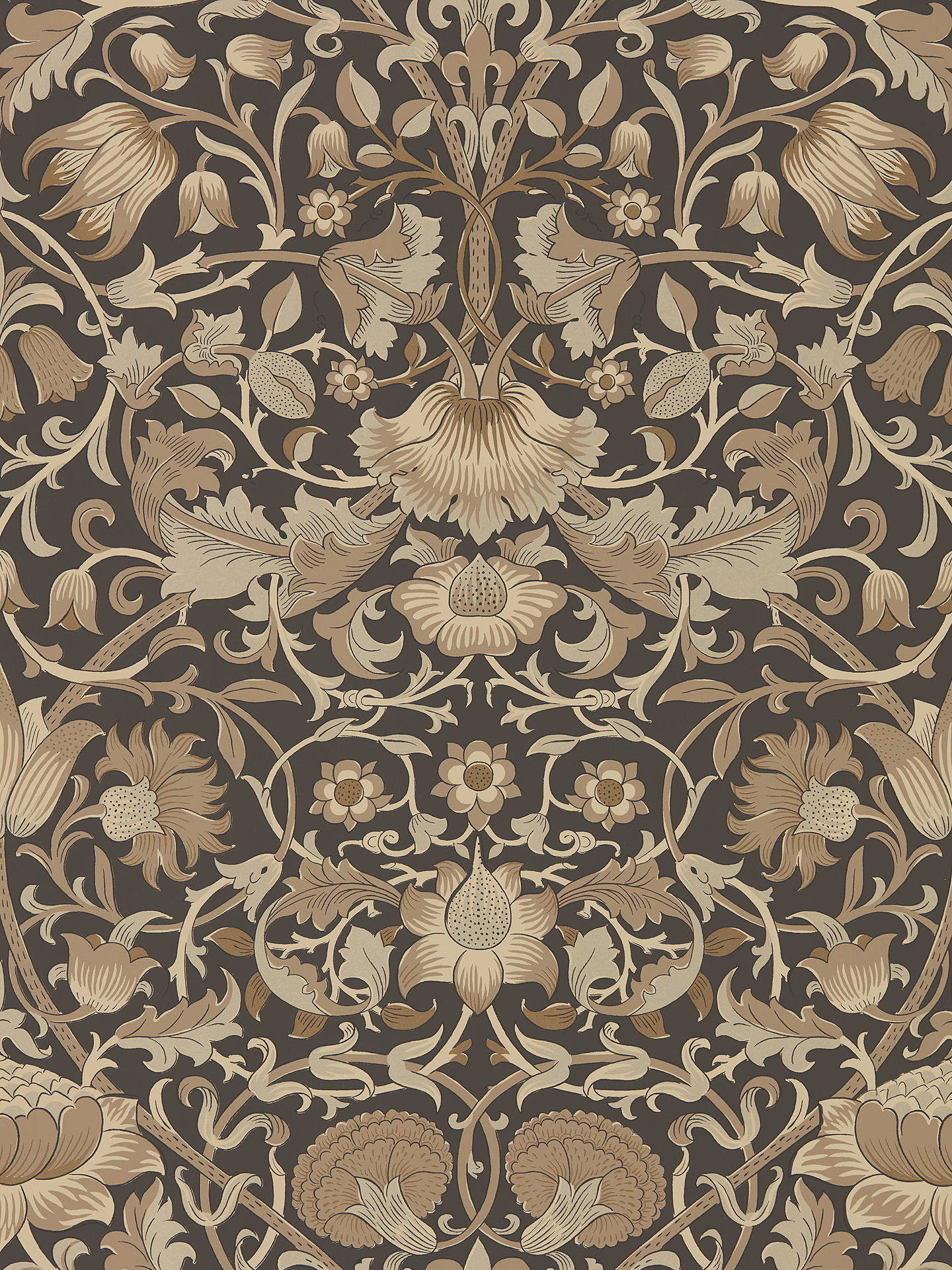 Buy Morris & Co. Pure Lodden Wallpaper, Charcoal / Gold DMPU216027 Online at johnlewis.com