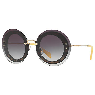 Miu Miu MU 10RS Round Sunglasses, Black/Grey Gradient