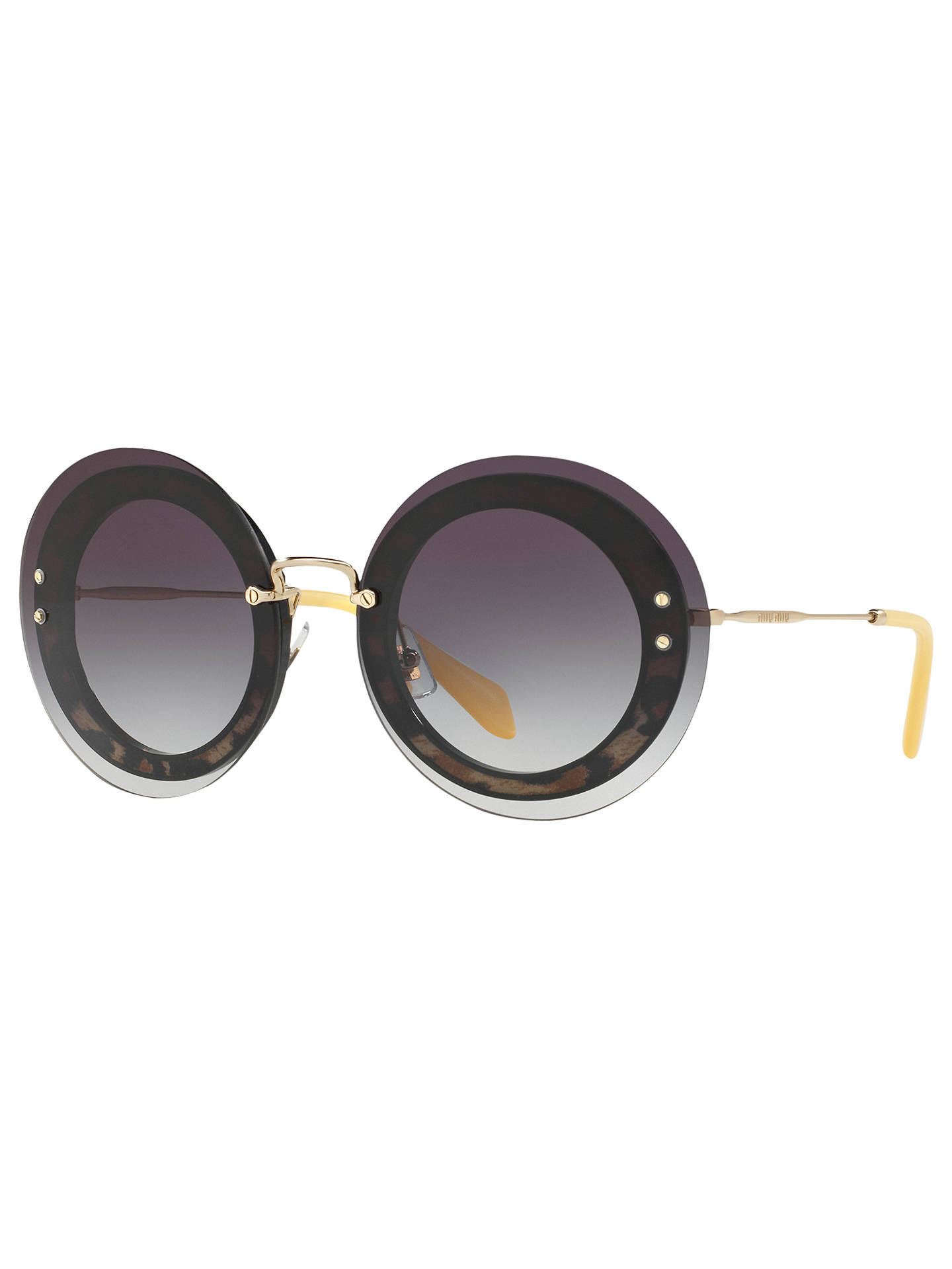 155251a53286 Buy Miu Miu MU 10RS Round Sunglasses, Black/Grey Gradient Online at  johnlewis.