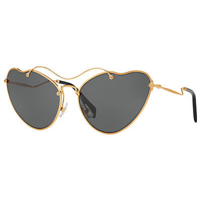 Product photo of Miu miu mu 55rs asymmetric cat s eye sunglasses gold grey