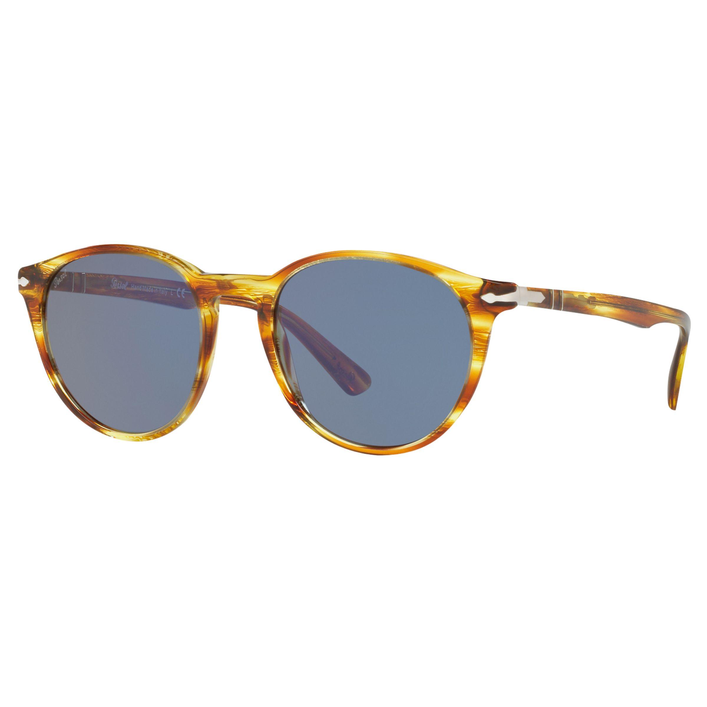 Persol Persol PO3152S Oval Sunglasses, Light Havana/Blue