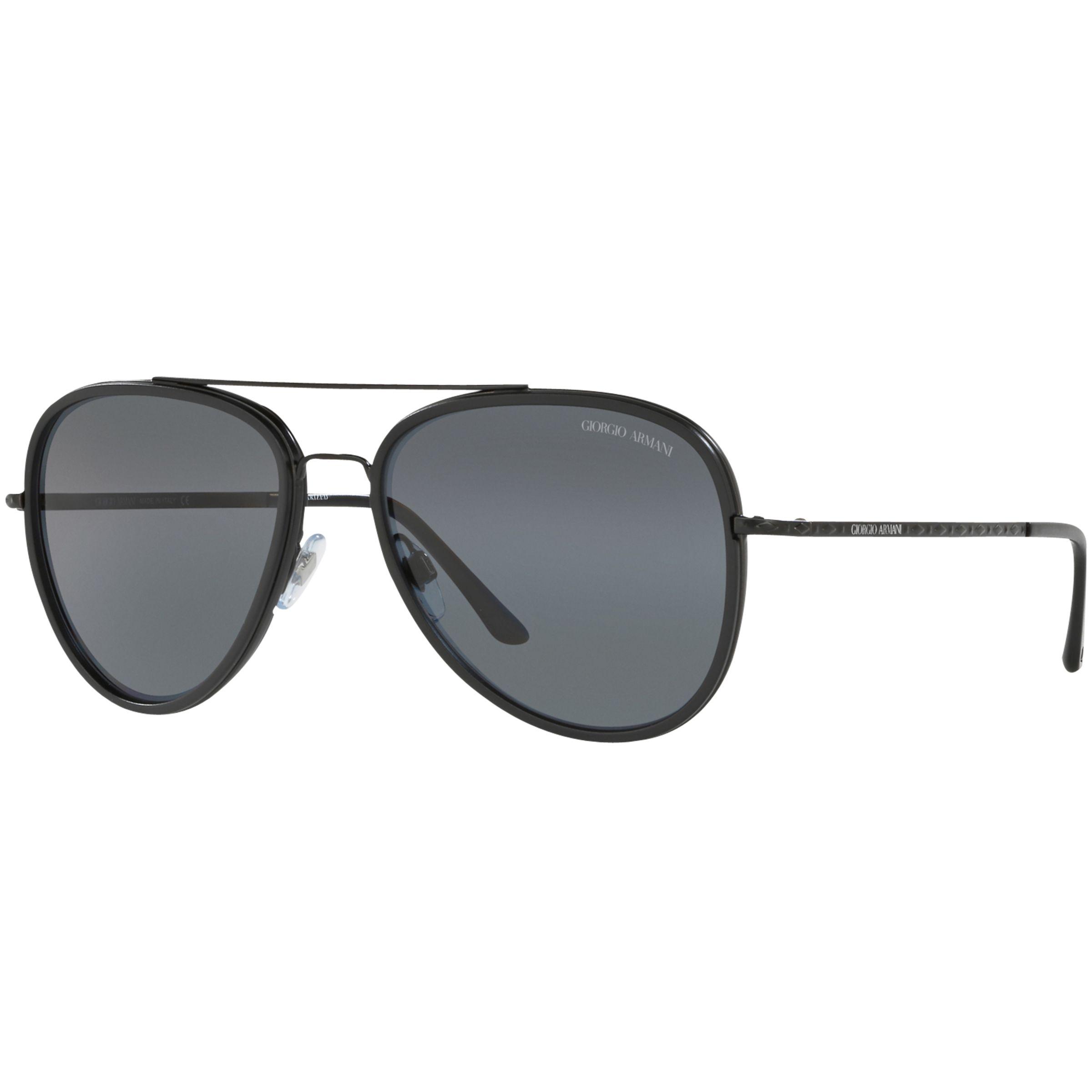Giorgio Armani Giorgio Armani AR6039 Polarised Frames of Life Aviator Sunglasses, Black