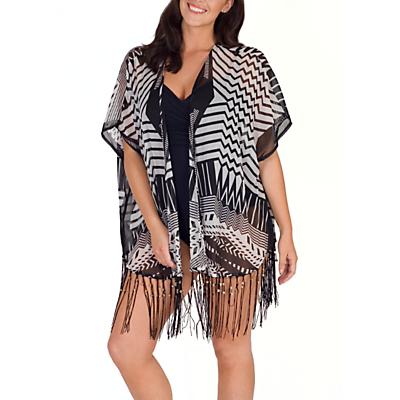 Chesca Aztec Print Kimono, Black/White