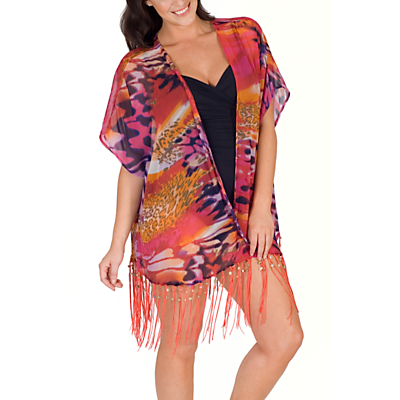 Chesca Animal Print Kimono, Pink/Purple